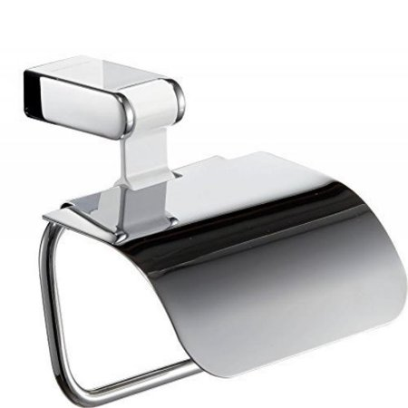 Iris Toilet Paper Roll Holder With Lid Polished Chrome White
