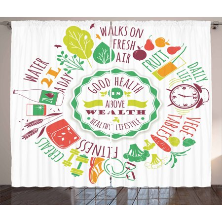 Fitness Curtains 2 Panels Set, Good Health is Above Wealth Wellness Motivation Water Fruits Fitness Walk Cereals, Window Drapes for Living Room Bedroom, 108W X 84L Inches, Multicolor, by Ambesonne ()
