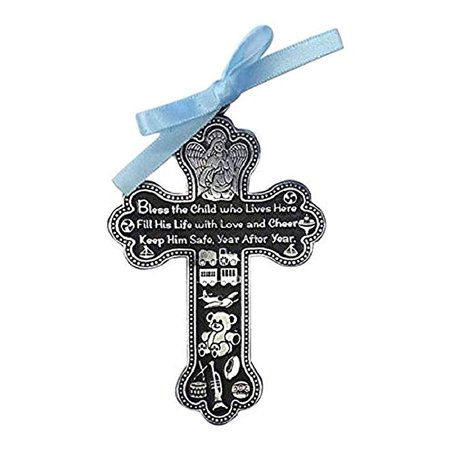 Bless The Child - GUARDIAN ANGEL Baby BOY Crib Cross PEWTER Medal/CHRISTENING/BABY SHOWER GIFT/Baptism KEEPSAKE/with BLUE RIBBON/GIFT BOXED (Handcrafted Pewter Gift Boxed)