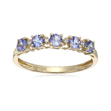 10k Tanzanite and Diamond-Accented Stackable Ring, Size 7