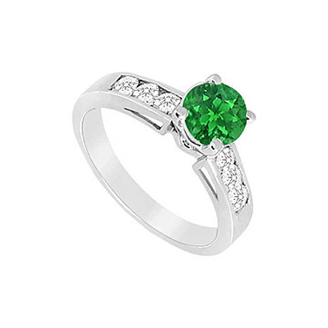 FineJewelryVault UBJS159AW14DE-101 Emerald and Diamond Engagement Ring : 14K White Gold - 0. 75 CT TGW - Size: 7