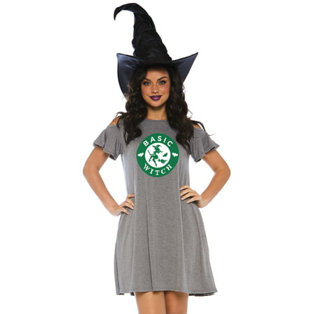 Women's Basic Witch Halloween Dress, Grey, Medium - Witch Spells Halloween