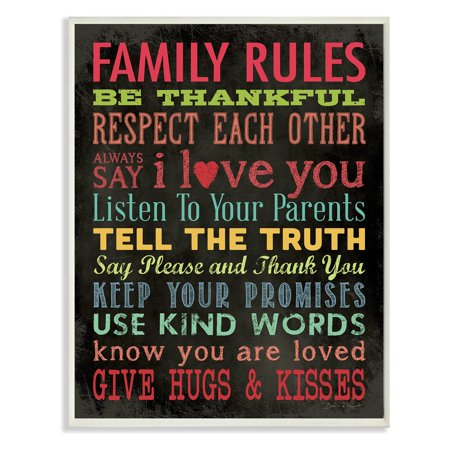 The Stupell Home Decor Collection Family Rules Chalkboard Style Wall Plaque ()