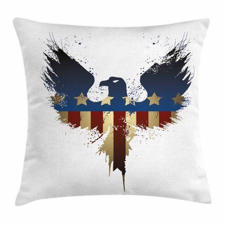 Eagle Throw Pillow Cushion Cover, The American Flag on Silhouette of National Bird of the Country Majestic Animal, Decorative Square Accent Pillow Case, 16 X 16 Inches, Blue Red Sepia, - Silhouette Birds