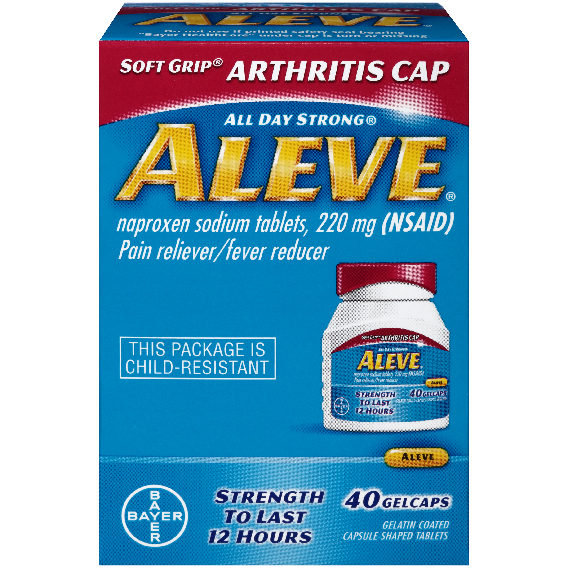 Aleve Soft Grip Arthritis Cap Pain Reliever/Fever Reducer Naproxen Sodium Gelcaps, 220 mg, 40 Ct