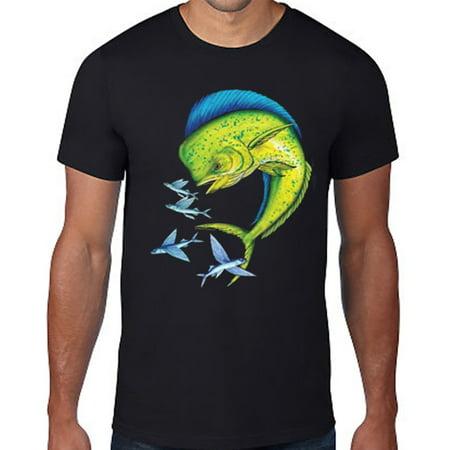 Men's Mahi Mahi Flying Fish T Shirt Top Fisherman Fishing Ocean Tees Gift S-3X