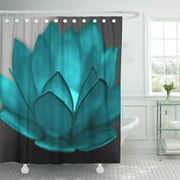 SUTTOM Color Teal Lotus Pop Flower Black White Hope Faith Shower Curtain 66x72 inch