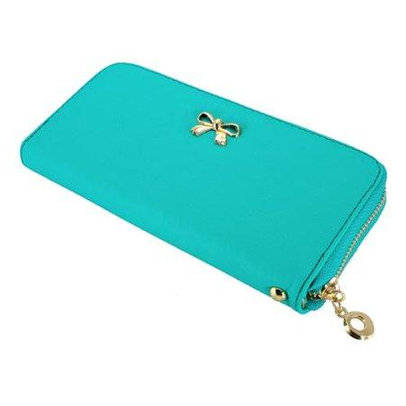 - Gearonic Women's Bow Detail Clutch Wallet Orange