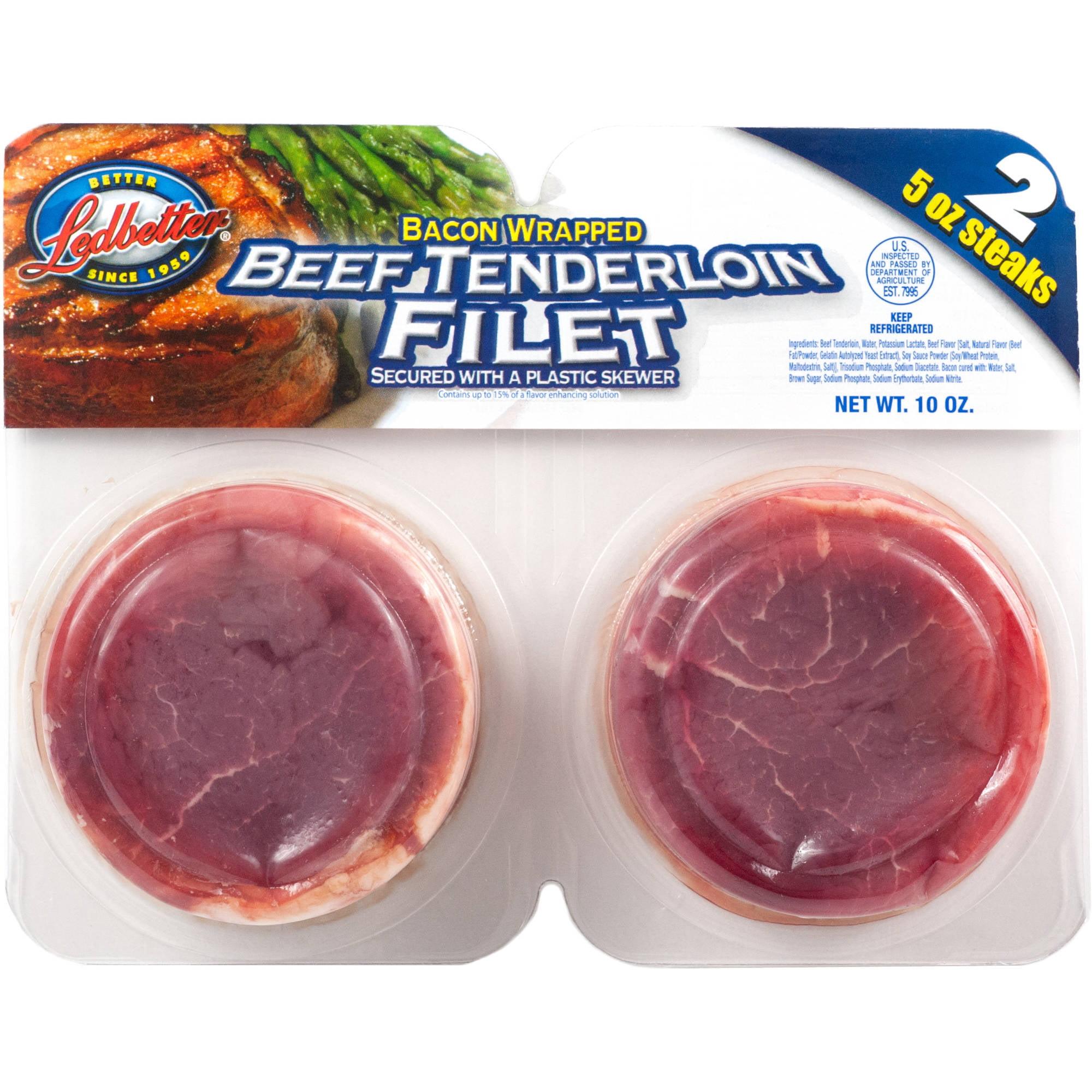 Ledbetter Bacon Wrapped Beef Tenderloin Filet, 5 oz, 2 count