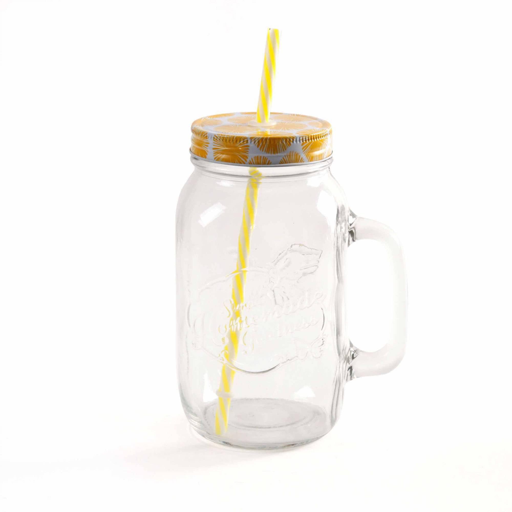 the pioneer woman simple homemade goodness 32ounce mason jars with handle lid and straw set of 4 walmartcom - Mason Jar Glasses