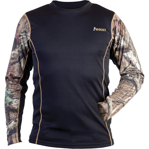 Rocky Camo Accent Lightweight Compression Top, Black Mossy Oak Infinity