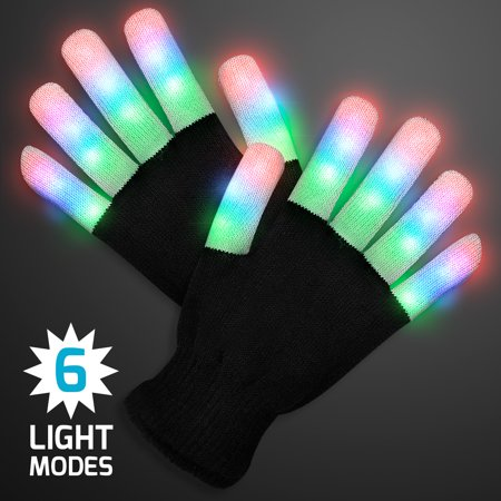 FlashingBlinkyLights Stripe Light Fingers LED Glow Gloves](Finger Light Gloves)