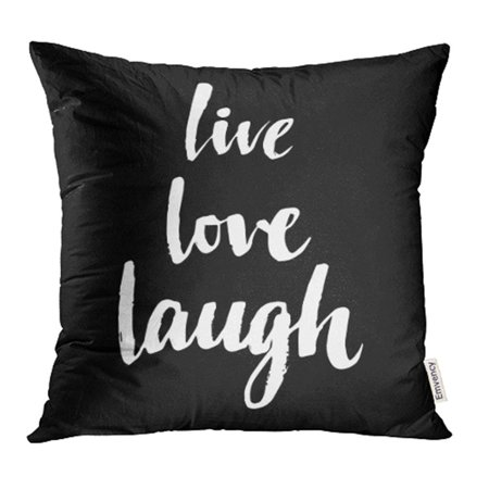 YWOTA Calligraphic Live Love Laugh Motivation Your Design Handwrtitten Sign Calligraphy Pillow Cases Cushion Cover 20x20 (Design Lever)