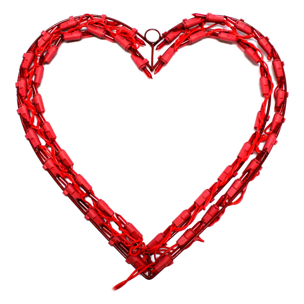 "Kurt Adler 12"" Red Heart Window Decoration with 50 Mini Lights"