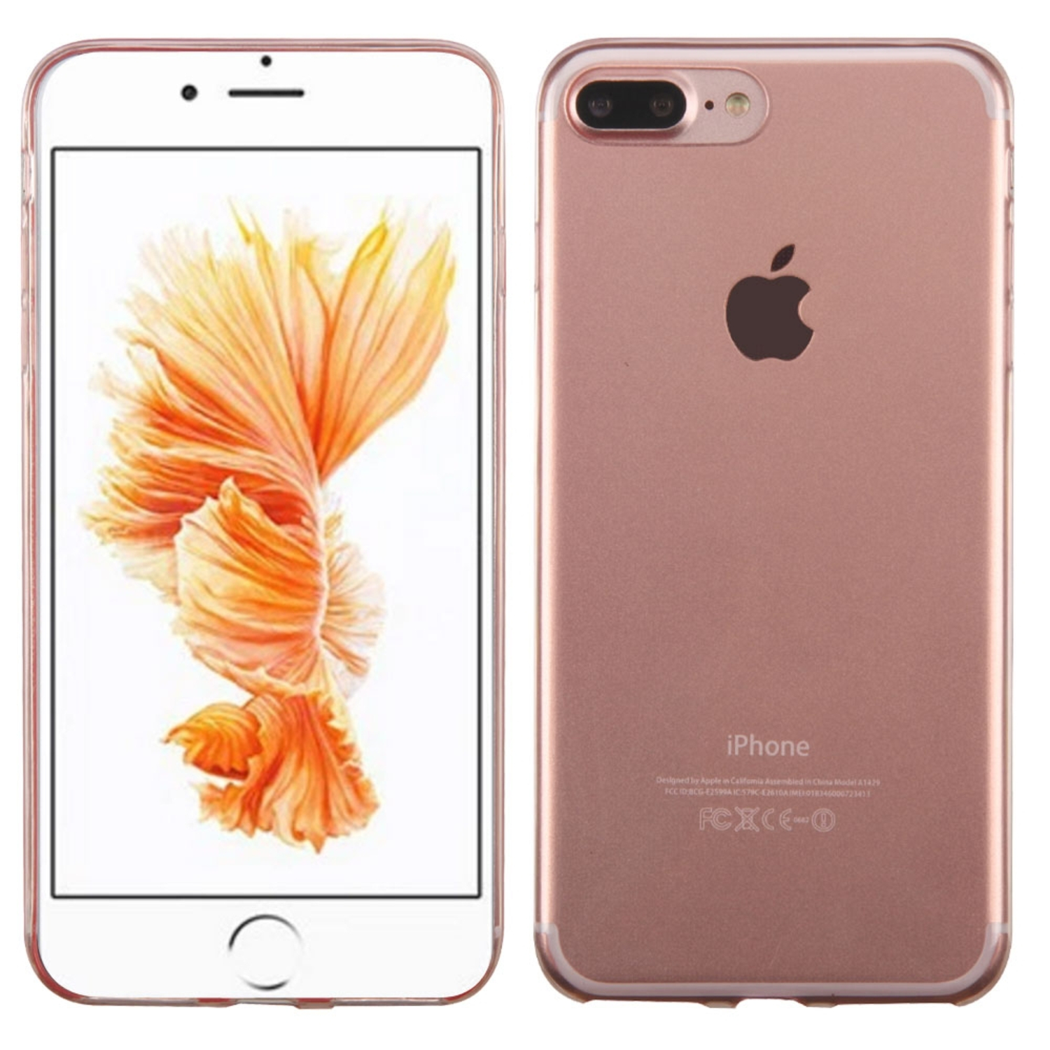 Insten TPU Ultra Slim Skin Gel Rubber Cover Case For Apple iPhone 7 Plus - Clear with Rose Gold trim