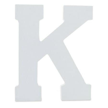 Letter Set Helvetica Font - Courier Font White Color Wooden Letter K (6 Inches)