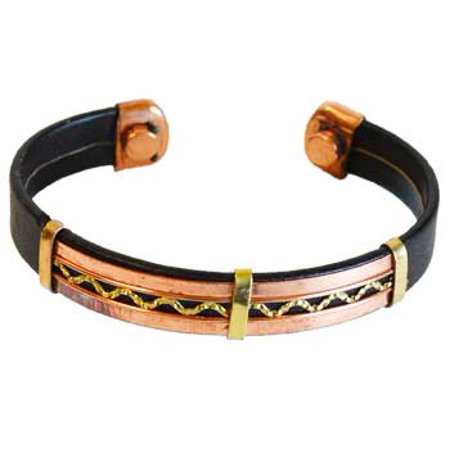 Copper Magnetic Old World Style Cuff Bracelet With Leather Band Use Magnets To Heal Body Pain Fatigue Improve Blood Circulation