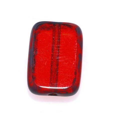 Czech Glass Table Cut Window Beads 8x12mm Rectangle - Ruby Red / Picasso (12)
