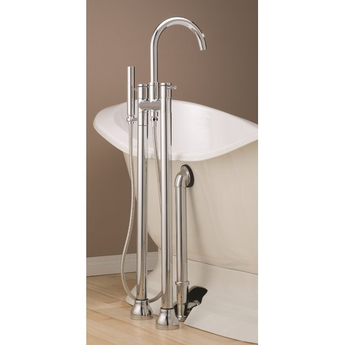 Cheviot Double Handle Floor Mounted Clawfoot Tub Faucet w...