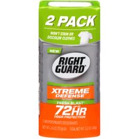 Right Guard Xtreme Defense Antiperspirant Deodorant Invisible Solid Stick, Fresh Blast, 2.6 Ounce Twin Pack (Pack of 2)