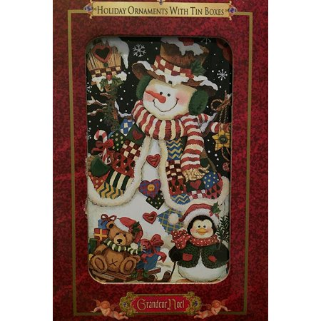 Grandeur Noel Holiday Ornament with Tin Box #10023S Snowman & Winter Friends