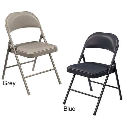NPS Commercialine Vinyl Padded Folding Chair (Pack of 4) Grey
