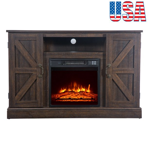 "New Arrival Rustic Wood Fireplace TV Stand for 50"" Television Farmhouse TV Stand Media Storage Console Cabinet with Small Electric Fire Place Entertainment Center Living Room Bedroom Furniture"