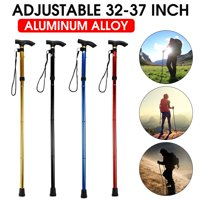 32-37 inches Folding Hiking Trekking Walking Pole Stick, 3 Section Adjustable Retractable Anti-shock, Gold/Red/Black/Blue