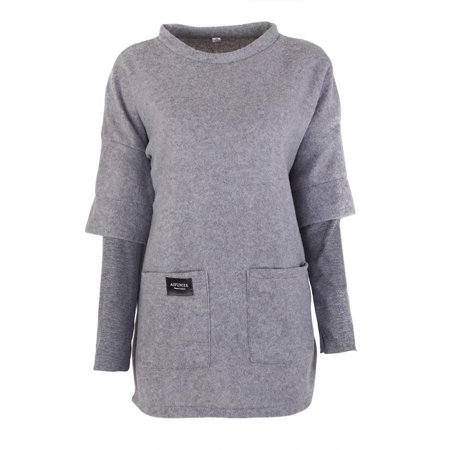 Sweetsmile Autumn Women Sweatshirt Plus Size Long Sleeve O-neck Pullovers Women Long Sweatshirt Solid Color With Pockets Clearance Sale