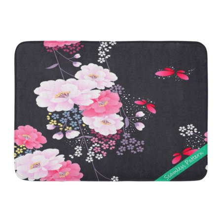 GODPOK Chrysanthemum Black Blossom Japanese Traditional Floral Kimono Pink Cherry Butterfly Rug Doormat Bath Mat 23.6x15.7 (Chrysanthemum Cherry)