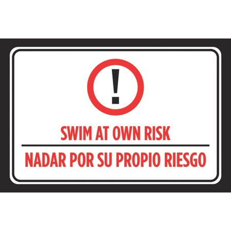 Swim At Own Risk Nadar Por Su Propio Riesgo Spanish Print Red Black White  Swimming Pool Rules Outdoor Poster Sign, 12x18