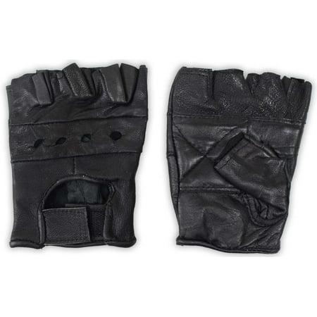 Men's Fingerless Leather Gloves - Black Mesh Backs - Size Medium: ( Pack of 2 Pairs ) (ToolUSA: GL-50020-Z02) ()