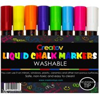 Liquid Chalk Washable Markers, 8 Colored Chalk Markers, Neon & White, Safe & Easy to Use, Non-Toxic, Great For All Ages, By Creatovxc2xae