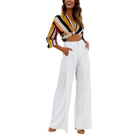 Funcee Sexy Women Soft High Waist Long Wide Leg Pants Summer (Seamless High Waist Long Leg)