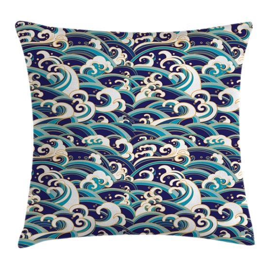 Nautical Decor Throw Pillow Cushion Cover, Traditional Oriental Style Ocean Waves Pattern with ...