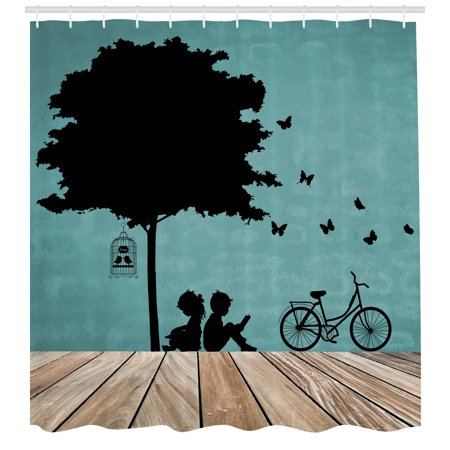 Boy Girl Shower (Kids Shower Curtain, Boy and Girl Children Reading Under a Tree with a Bird Cage and Bicycle, Fabric Bathroom Set with Hooks, Pale Brown Black Seafoam, by)