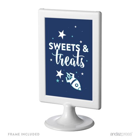Space Galaxy Birthday Framed Party Signs, Sweets & Treats, 4x6-inch, Includes Frame