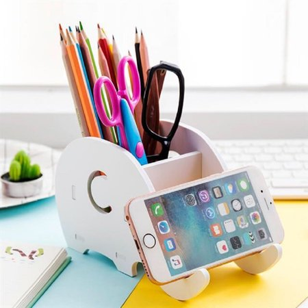 Cell Phone Stand Wood Pencil Holder With Desk Organizer Desktop Pen Mobile