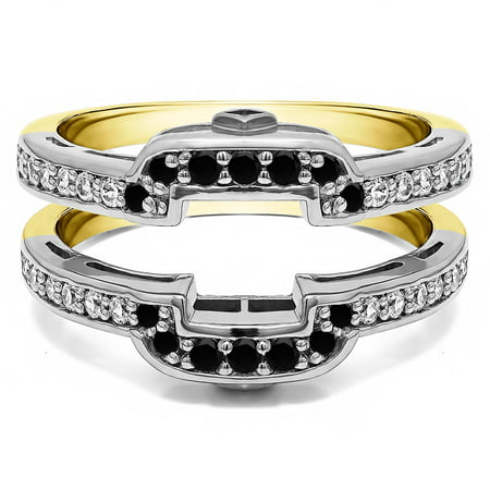 TwoBirch Square Halo Style Wedding Ring Guard In Sterling Silver With Black and White Diamonds (G,I2) (0.49ctw)