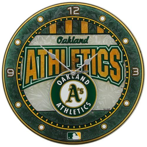 Oakland Athletics 12'' Art Glass Wall Clock - No Size