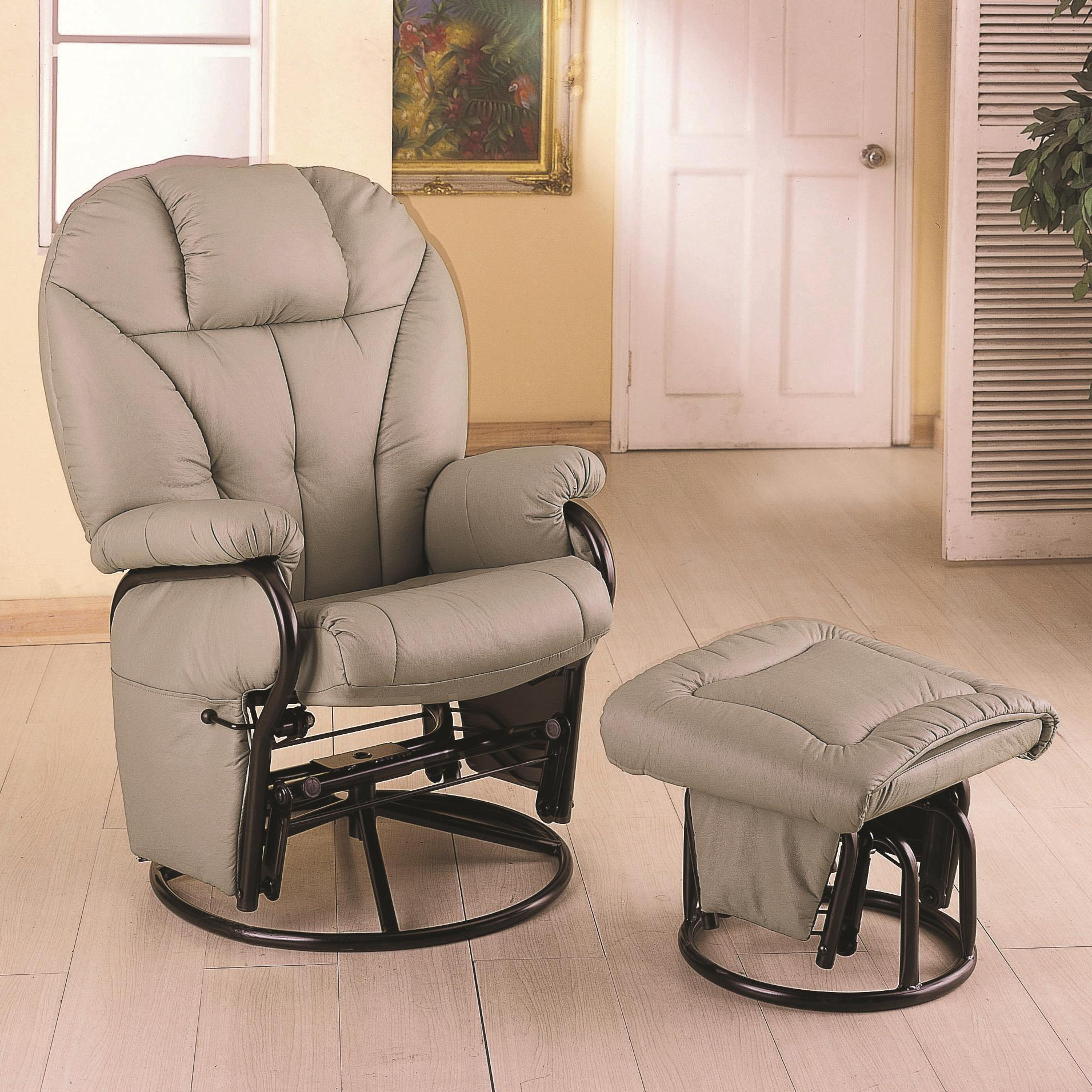 Leatherette Recliner with Matching Ottoman-Color:Bone