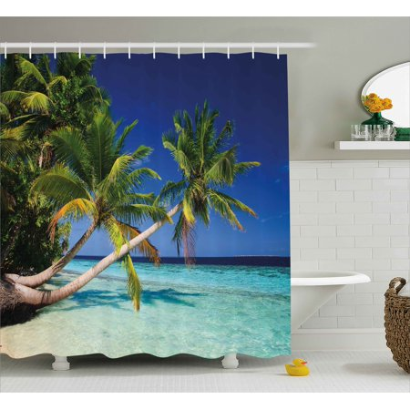 Tropical Shower Curtain, Exotic Maldives Beach with Palms Paradise Coast Vacation Scenery, Fabric Bathroom Set with Hooks, 69W X 75L Inches Long, Blue Turquoise Fern Green, by Ambesonne - Ferns Long Beach