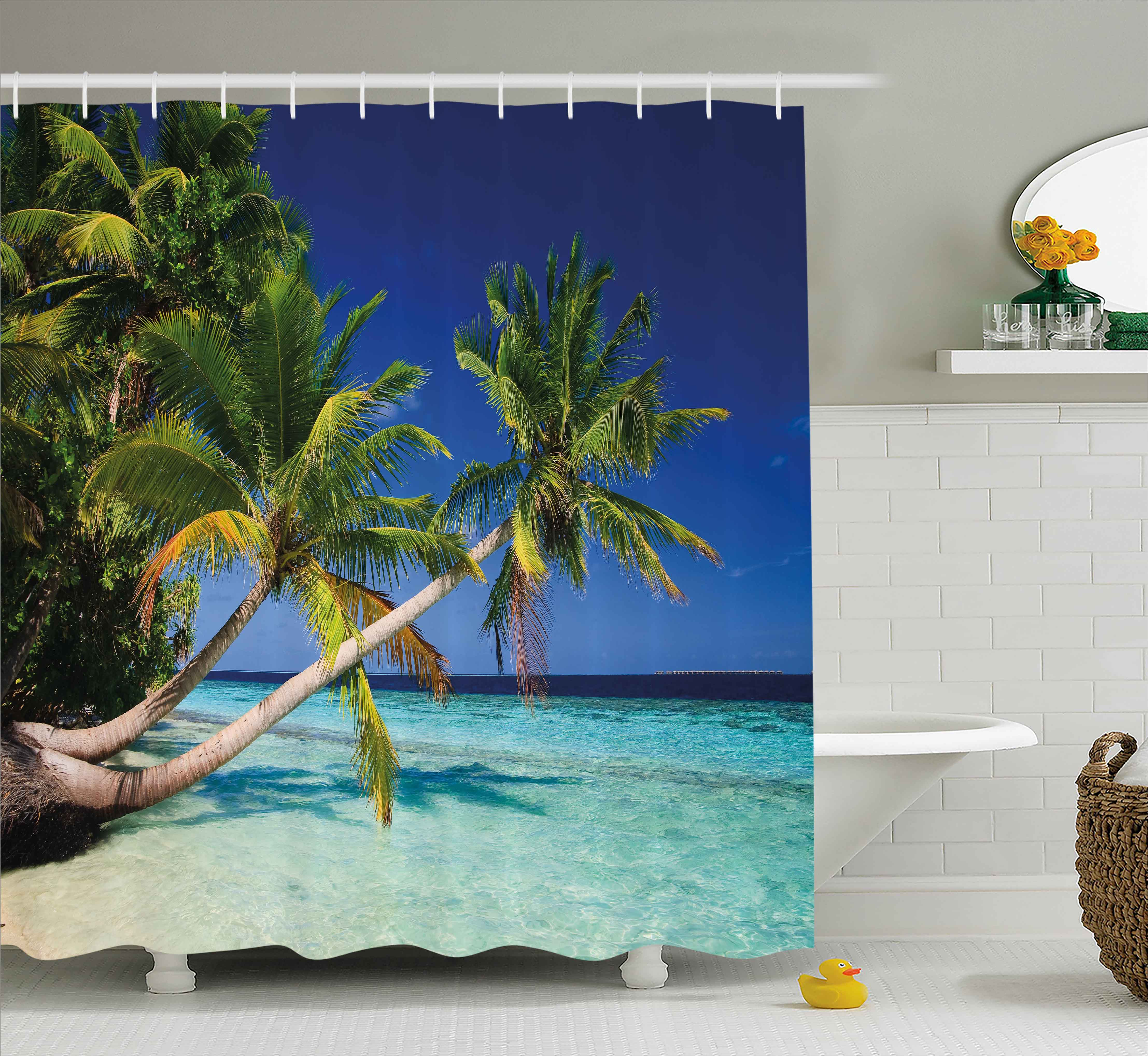 Tropical Shower Curtain, Exotic Maldives Beach with Palms Paradise Coast Vacation Scenery, Fabric Bathroom Set with Hooks, 69W X 70L Inches, Blue Turquoise Fern Green, by Ambesonne