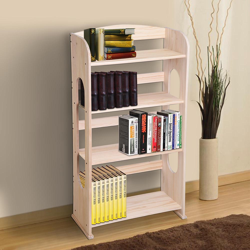 Yescom Wood Bookcase Bookshelf Hollow Out Storage Organizer Display Shelving Wood Color Furniture 4/ 5 Tiers
