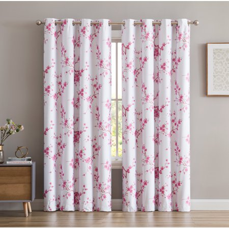 HLC.ME Jasmine Floral Faux Silk 100% Blackout Room Darkening Thermal Insulated Energy Efficient Curtain Grommet Panels - Pair ()