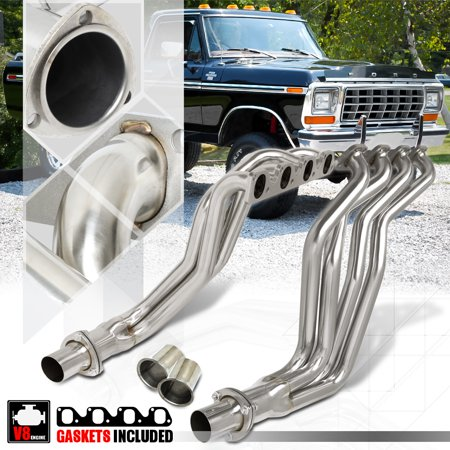 - SS Long Tube Exhaust Header Manifold for 77-79 Ford F150/F250/F350 5.8/6.6 V8 78