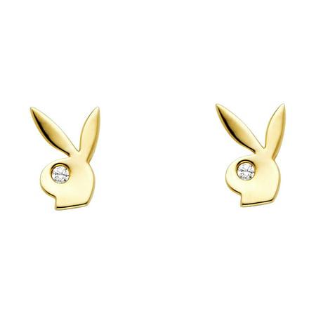 - Playboy Bunny Stud Earrings Solid 14k Yellow Gold Rabbit Studs Posts Stylish Polished Fancy 6 mm