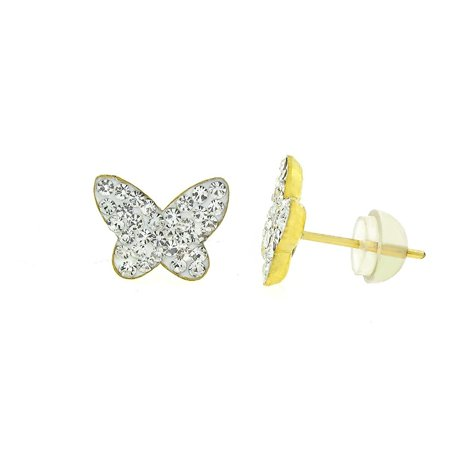 14k Yellow Gold and Copper Butterfly Stud Earrings with Swarovski Element Crystals, Choice of Colors 14k Yellow Gold Butterfly Earrings