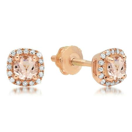 18k Rose Gold Square (0.45 Carat (ctw) 18K Rose Gold Round Cut Morganite & White Diamond Ladies Halo Style Stud Earrings 1/2 CT)