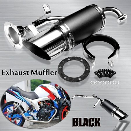 Stainless Steel Performance Exhaust Pipe Muffler System Short Carbon Fiber  GY6 50cc 125cc 150cc 4 Stroke Chinese Scooter ATV Pit Dirt Bike Engine